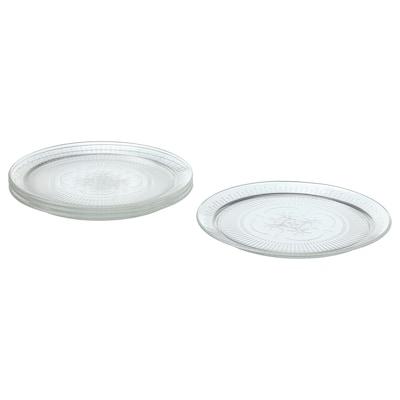SÄLLSKAPLIG Plate, clear glass/patterned, 26 cm