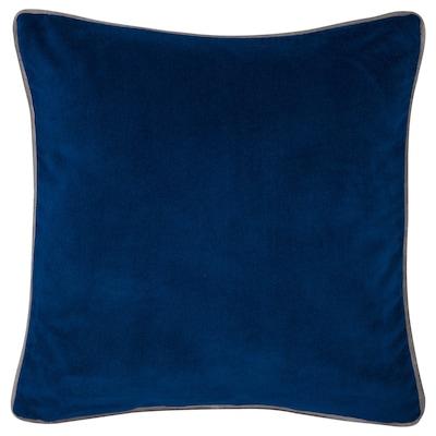 SAGALIE Cushion cover, velvet yellow/dark blue, 50x50 cm
