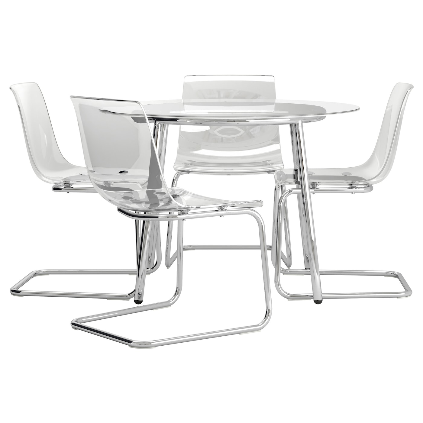 Salmi tobias table and 4 chairs glass transparent 105 cm for Table 4 personnes ikea