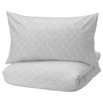 SALTÖRT Quilt cover and 2 pillowcases, grey/white, 200x200/50x80 cm