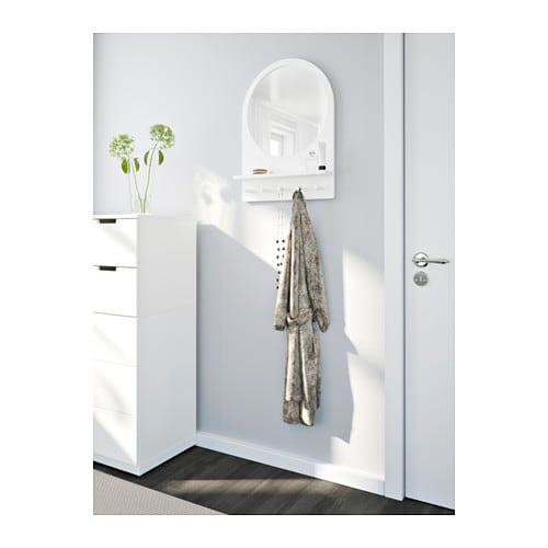 Saltr D Mirror With Shelf And Hooks White 50x68 Cm Ikea
