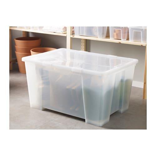 samla box transparent 78x56x43 cm 130 l ikea. Black Bedroom Furniture Sets. Home Design Ideas