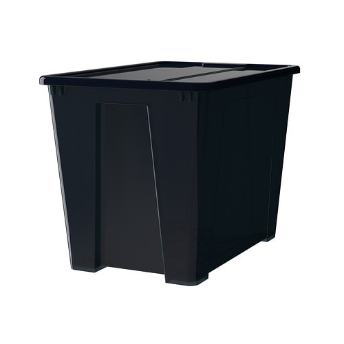 samla box with lid black 57x39x42 cm 65 l ikea. Black Bedroom Furniture Sets. Home Design Ideas