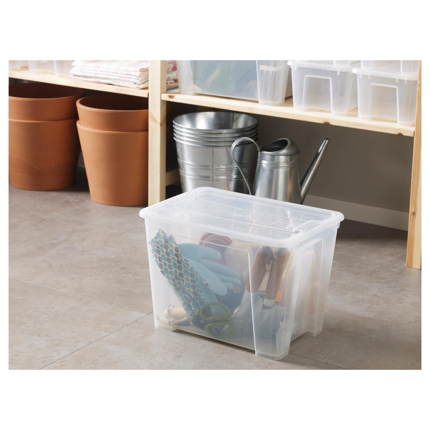 samla box with lid transparent 39 x 28 x 28 cm 22 l ikea. Black Bedroom Furniture Sets. Home Design Ideas