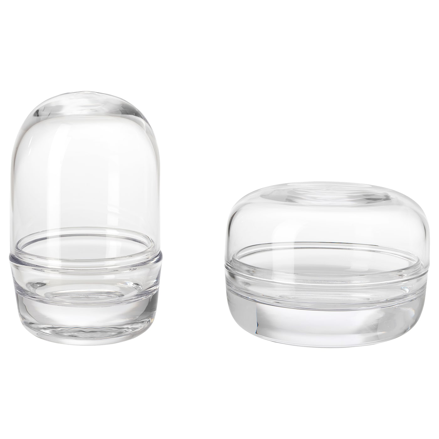 IKEA SAMMANHANG glass dome with base, set of 2