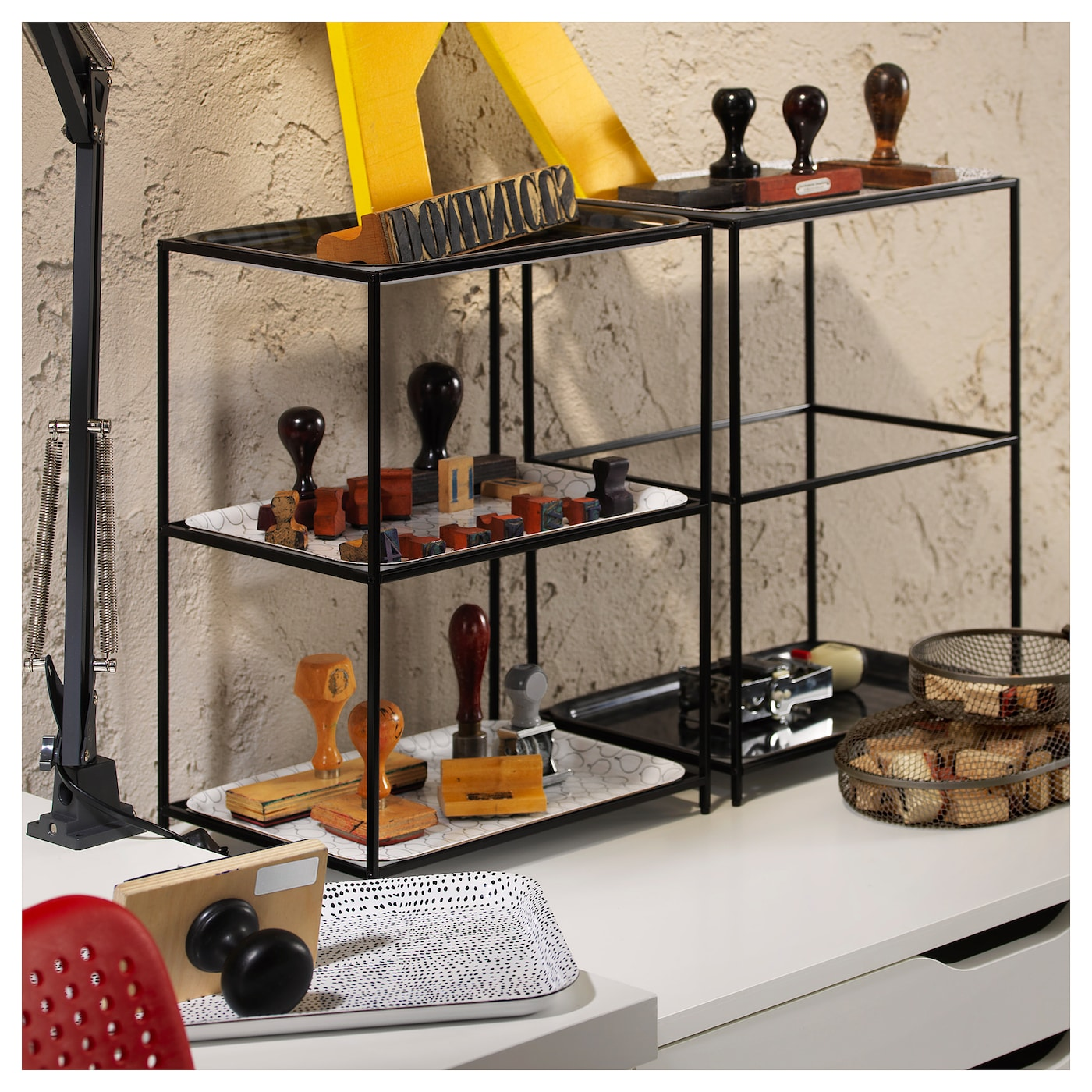 IKEA SAMMANHANG tray stand Stands steady even on an uneven surface as the feet can be adjusted.