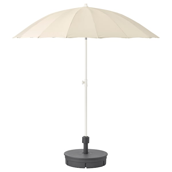 SAMSÖ Parasol with base, beige/Grytö dark grey, 200 cm
