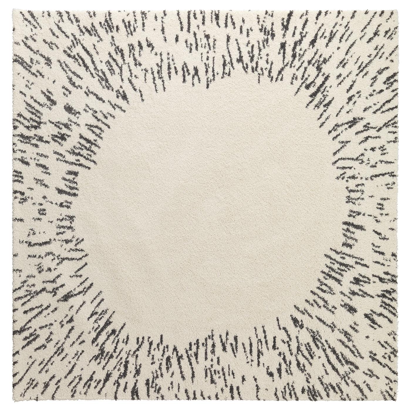 sanderum rug high pile white grey 200x200 cm ikea. Black Bedroom Furniture Sets. Home Design Ideas