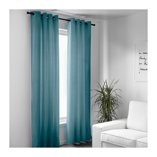sanela curtains 1 pair light turquoise 140x300 cm ikea. Black Bedroom Furniture Sets. Home Design Ideas