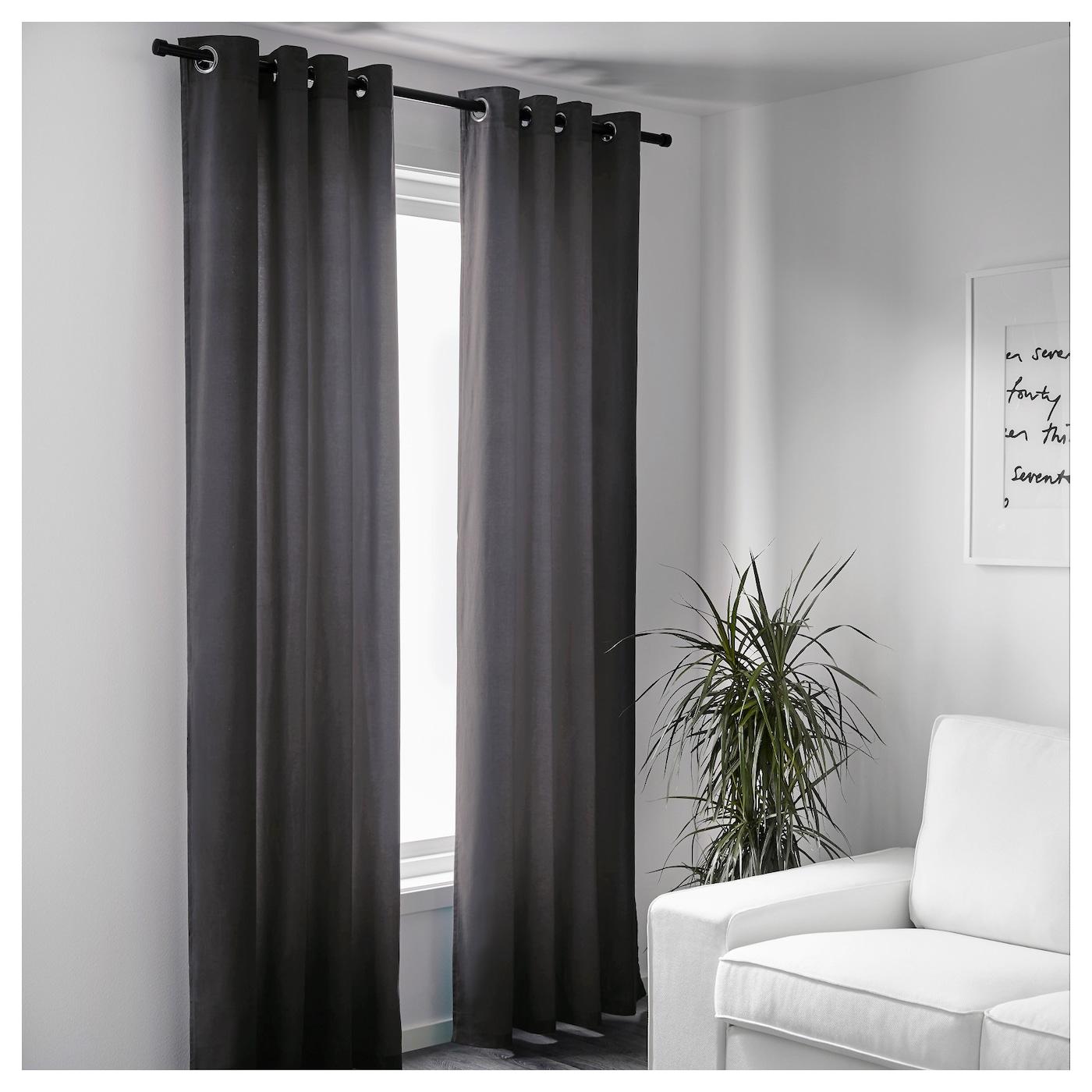 Sanela Curtains 1 Pair Grey 140x250 Cm Ikea