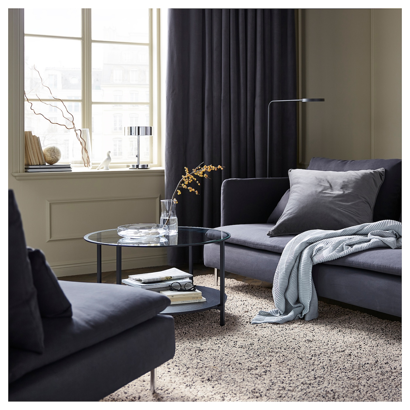IKEA SANELA Curtains, 1 Pair Cotton Velvet Gives Depth To The Colour And  Softness To