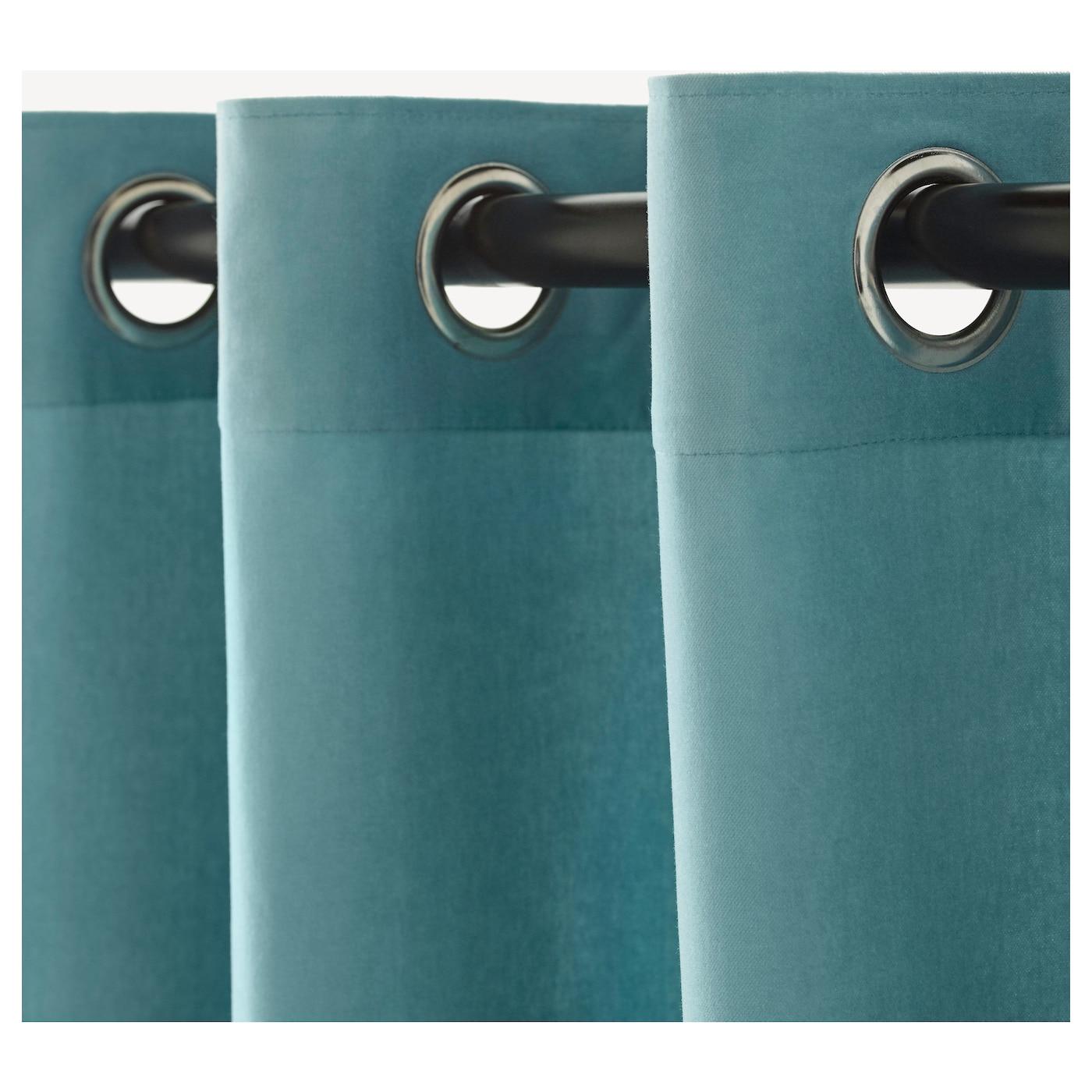 SANELA Curtains, 1 pair Light turquoise 140x250 cm - IKEA for Turquoise Curtains Ikea  56mzq