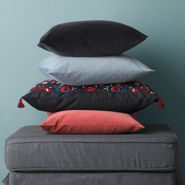 SANELA cushion cover dark grey 50 cm 50 cm