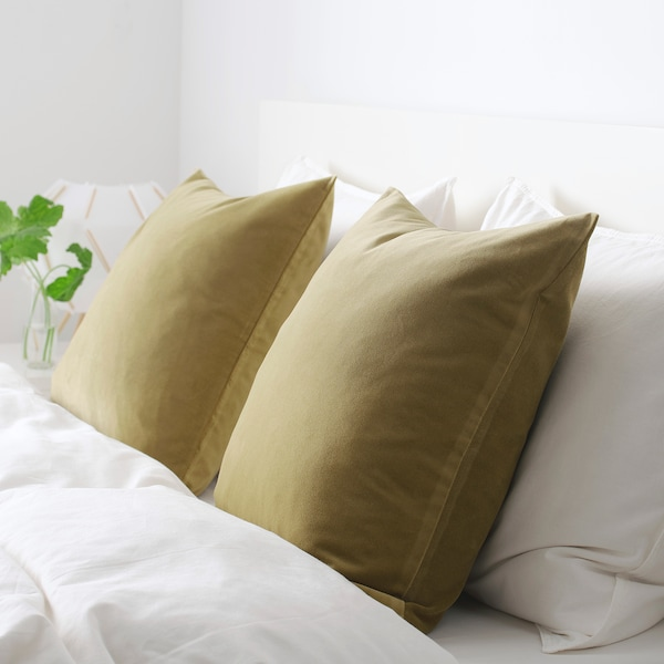 SANELA cushion cover light olive-green 50 cm 50 cm