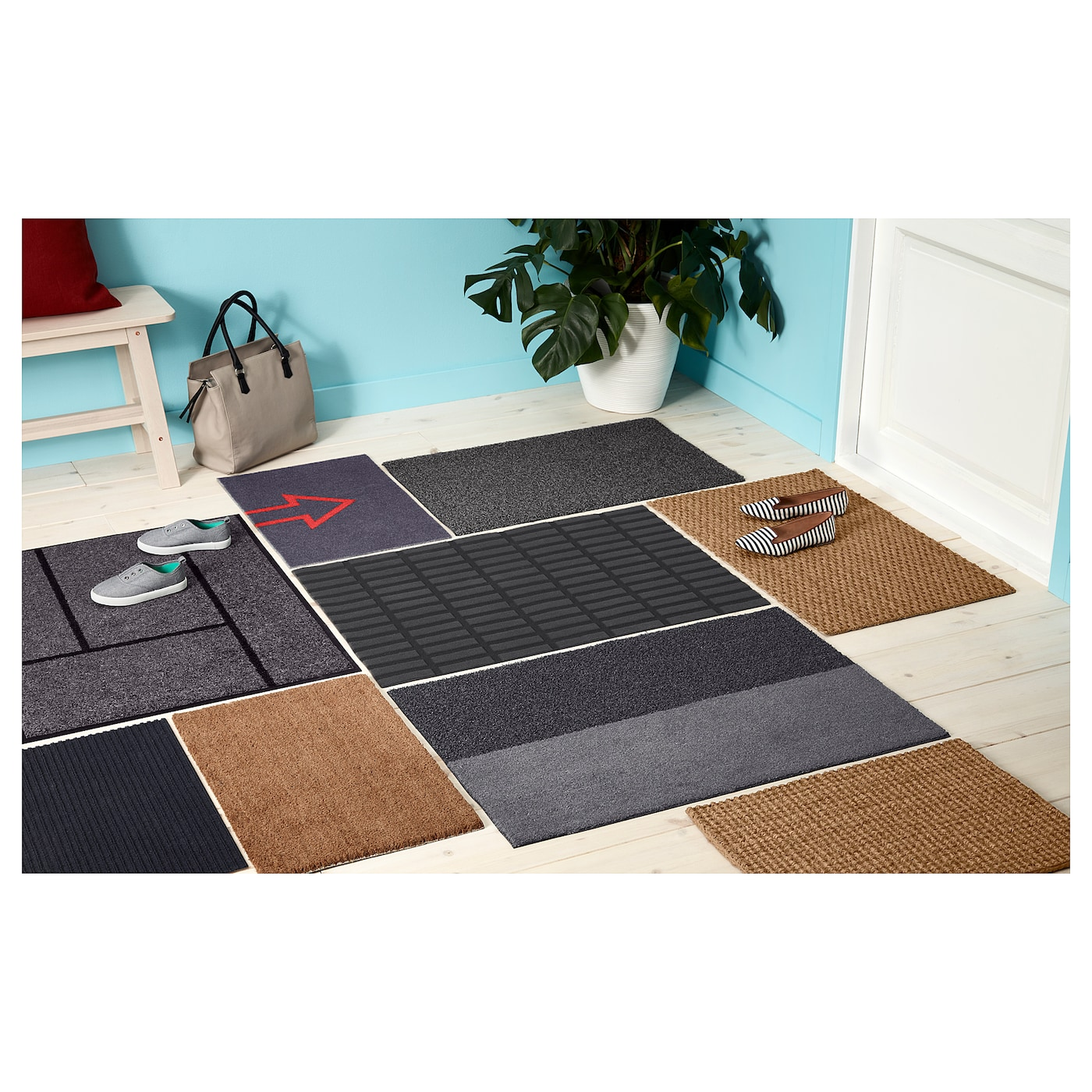IKEA SEJET door mat The backing keeps the door mat firmly in place and reduces the risk of slipping.