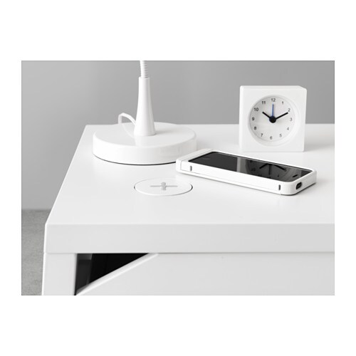 selje bedside table w wireless charging white 46x37 cm ikea