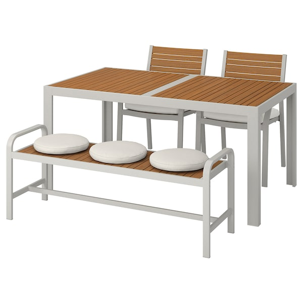 SJÄLLAND Table+2 chairs+ bench, outdoor, light brown/Frösön/Duvholmen beige, 156x90 cm