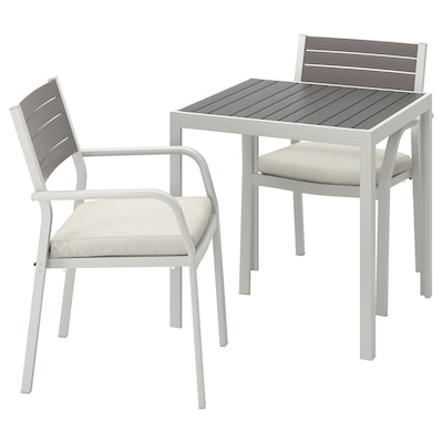 SJÄLLAND Table+2 chairs w armrests, outdoor, dark grey/Frösön/Duvholmen beige, 71x71x73 cm