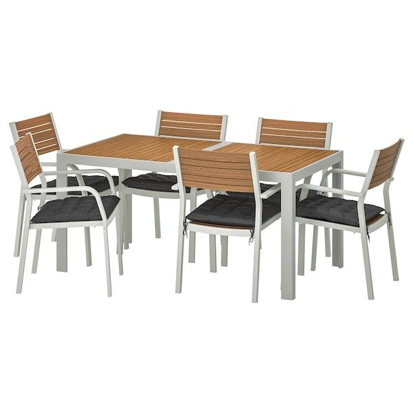 SJÄLLAND table+6 chairs w armrests, outdoor light brown/Hållö black 156 cm 90 cm 73 cm