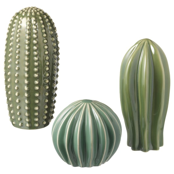 SJÄLSLIGT Decoration set of 3, green