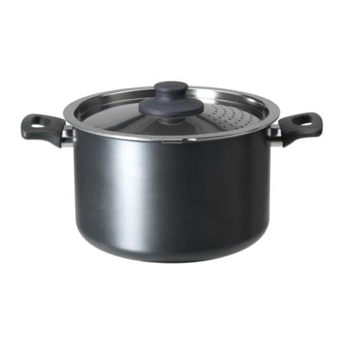 IKEA SKÄNKA pot with lid Comfortable handles make the cookware easy to lift.