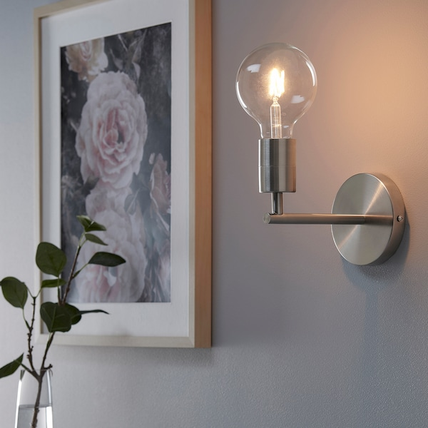SKAFTET Wall lamp, wired-in installation, nickel-plated