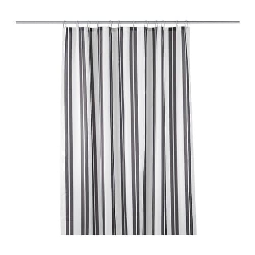 SKAGERN Shower curtain IKEA The fabric is densely woven and coated for water repelling.  Yarn-dyed; the pattern is visible on both sides.