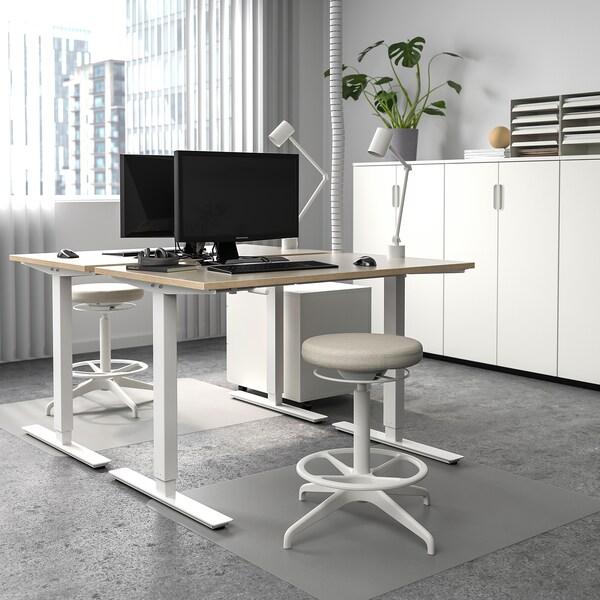 SKARSTA Desk sit/stand, beige/white, 120x70 cm