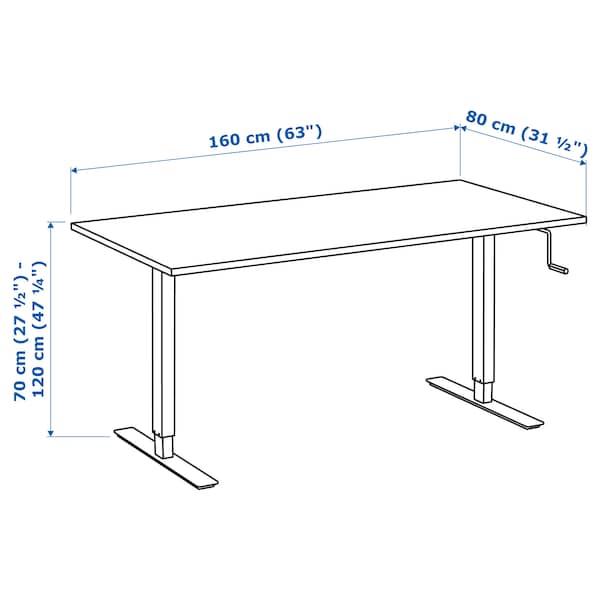 SKARSTA / TROTTEN Desk sit/stand, beige/white, 160x80 cm