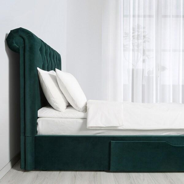 SKJÅNES Upholstered storage bed, with headboard/velvet dark green, Standard Double