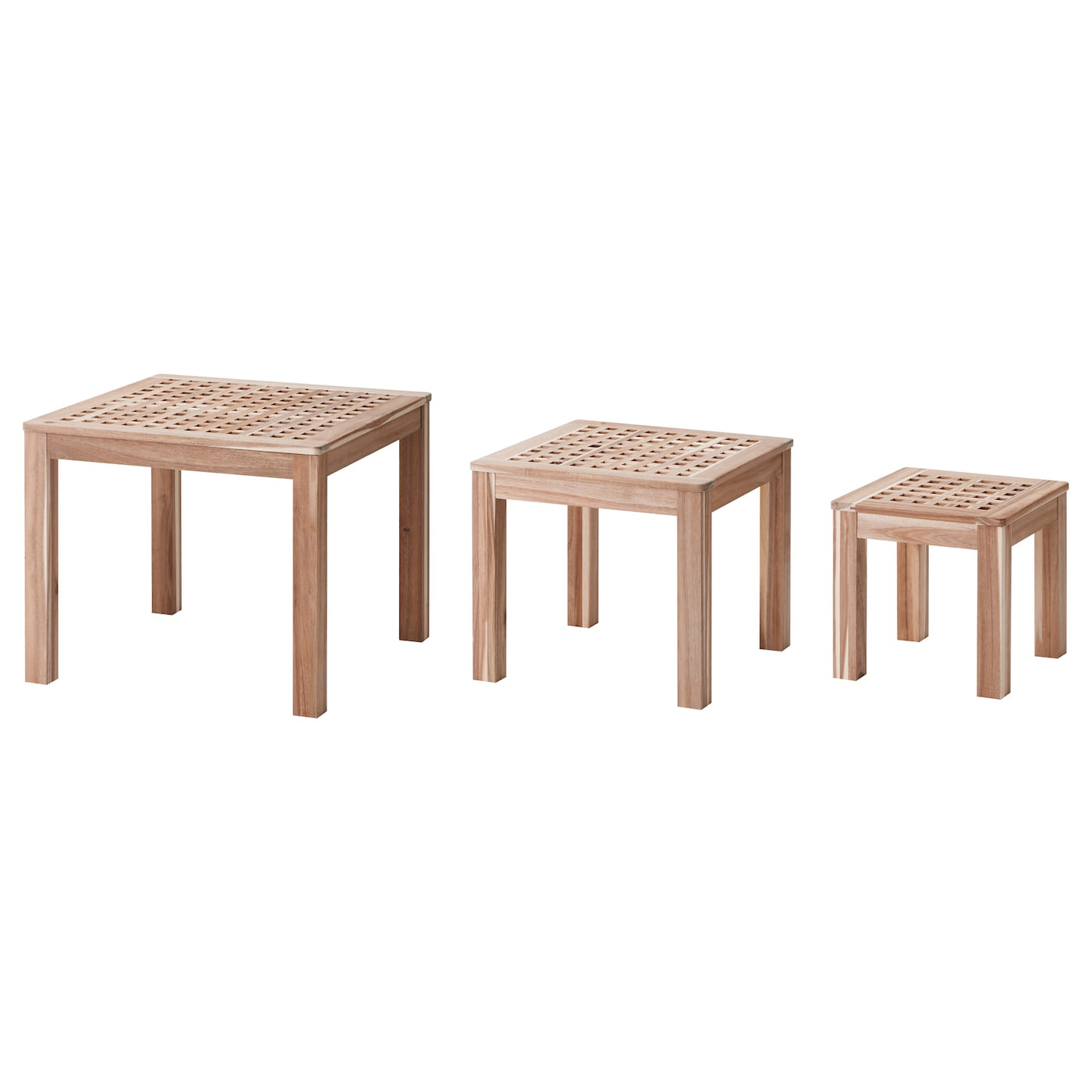 Skoghall nest of tables set of 3 acacia ikea ikea skoghall nest of tables set of 3 can be pushed together to save space geotapseo Gallery