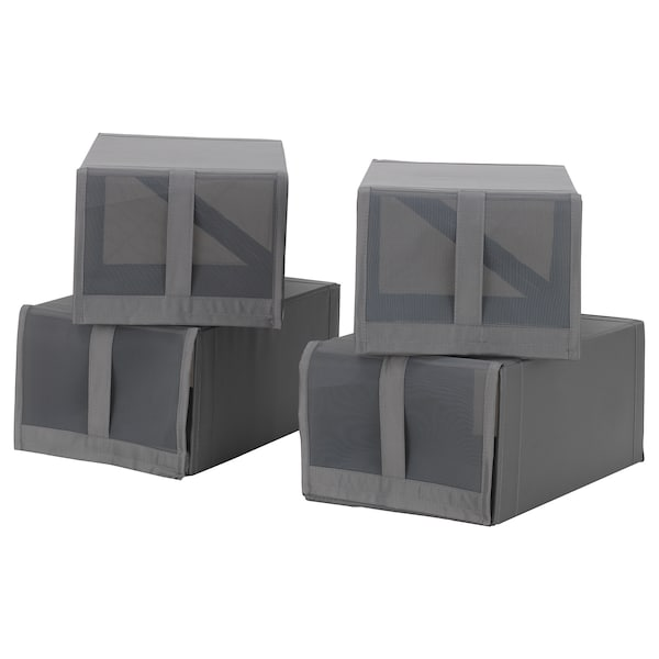 SKUBB shoe box dark grey 22 cm 34 cm 16 cm 4 pack