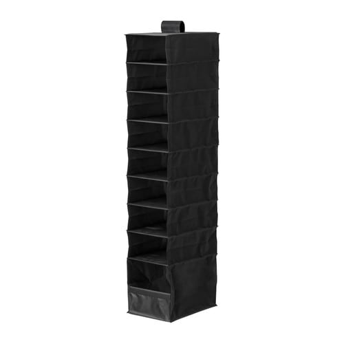SKUBB Storage with 9 compartments, black Width: 22 cm Depth: 34 cm Height: 120 cm