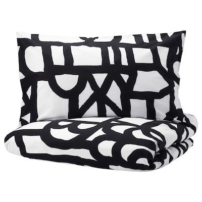 SKUGGBRÄCKA Quilt cover and 2 pillowcases, white/black, 200x200/50x80 cm
