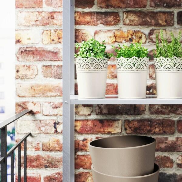 SKURAR plant pot in/outdoor/off-white 15 cm 12 cm 10.5 cm 12 cm