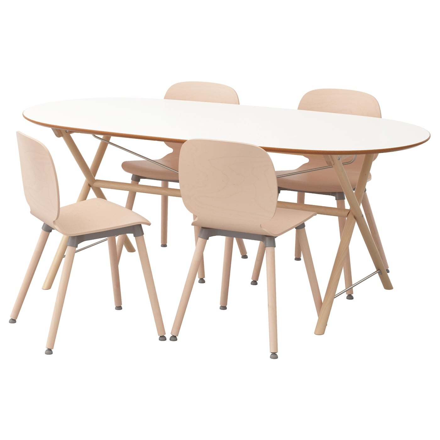 """SL""""HULT DALSHULT SVENBERTIL Table and 4 chairs Birch white birch"""