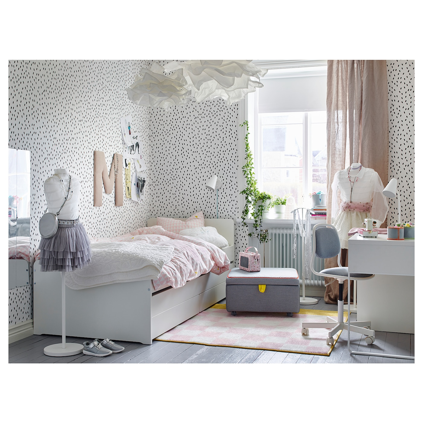 """SL""""KT Bed frame with underbed and storage White 90x200 cm IKEA"""