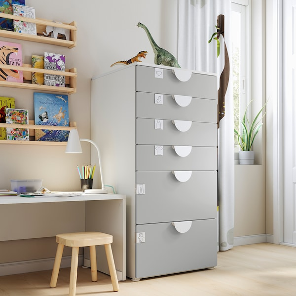 SMÅSTAD / PLATSA Chest of 6 drawers, white/grey, 60x55x123 cm