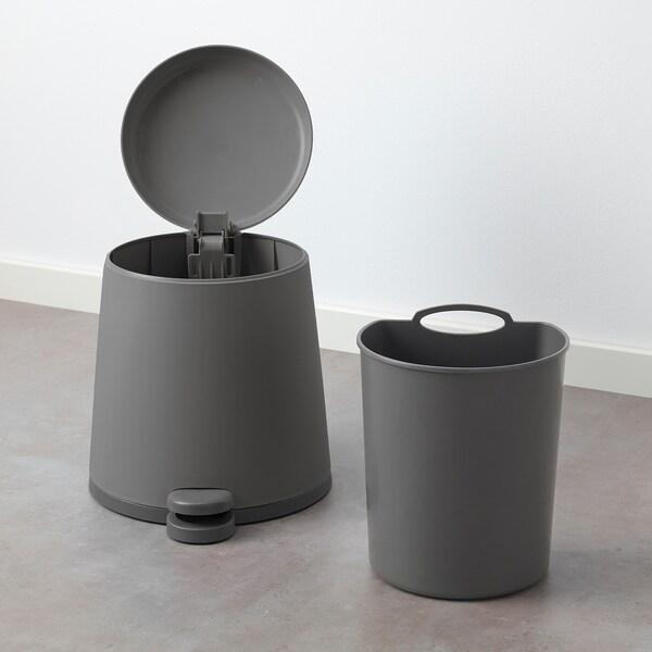 SNÄPP Pedal bin, grey, 5 l