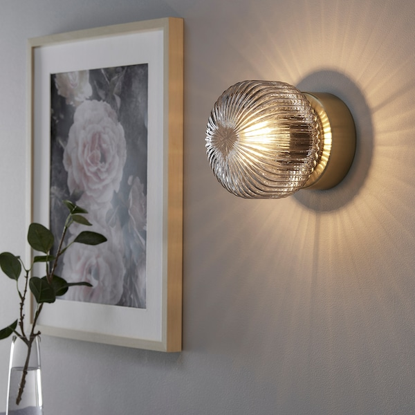 SOLKLINT Wall lamp, wired-in installation, brass/grey clear glass