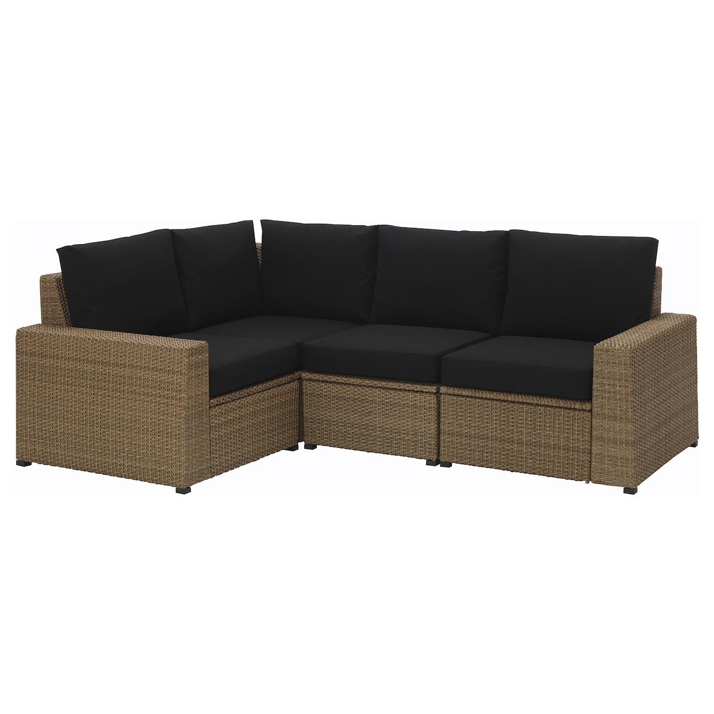 Soller n corner sofa 3 1 outdoor brown kungs black ikea - Sofa exterior ikea ...