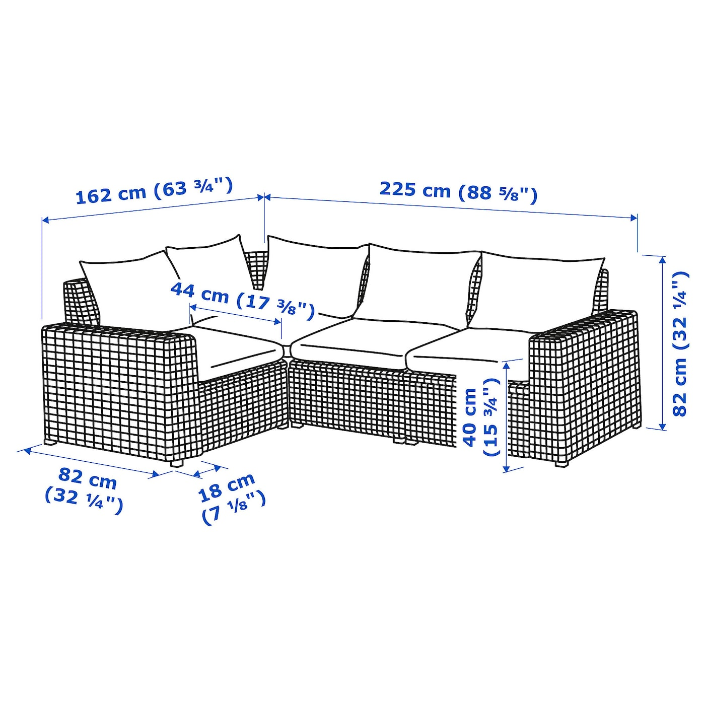 IKEA SOLLERÖN modular corner sofa 3-seat, outdoor Practical storage space under the seat.