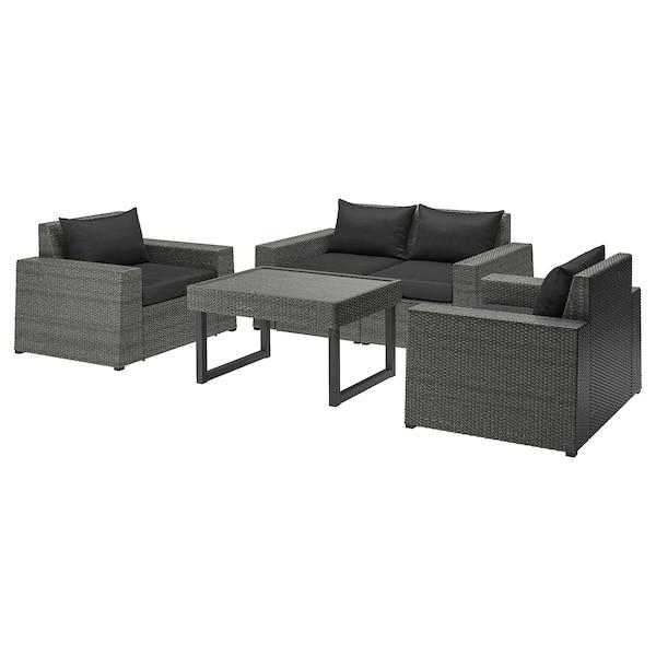 SOLLERÖN 4-seat conversation set, outdoor dark grey/Hållö black