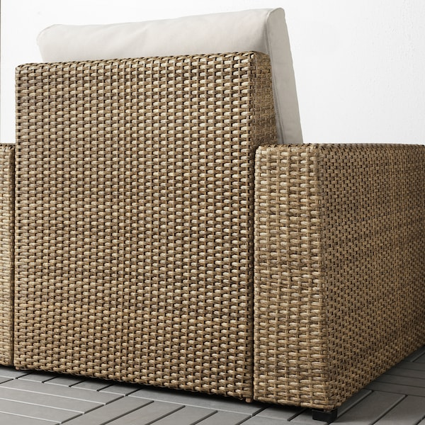 SOLLERÖN Armchair, outdoor, brown/Frösön/Duvholmen beige