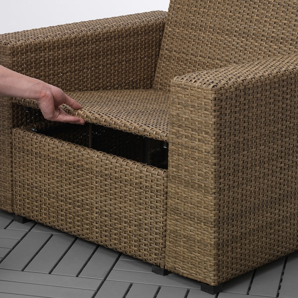 SOLLERÖN Armchair, outdoor, brown/Kuddarna beige