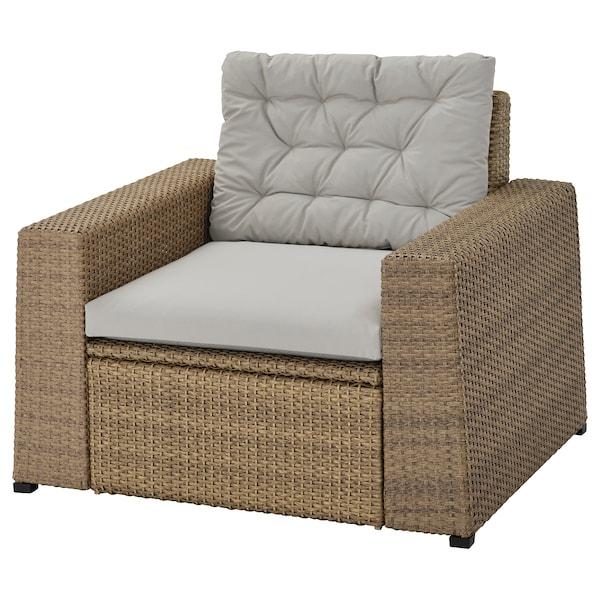 SOLLERÖN Armchair, outdoor, brown/Kuddarna grey