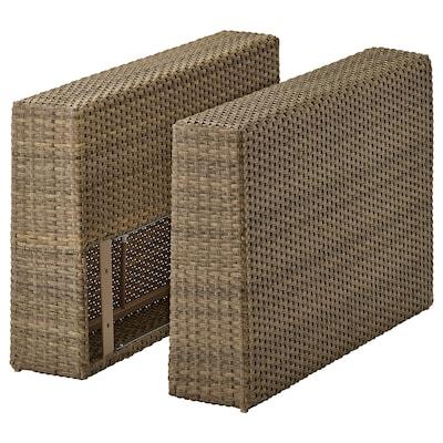 SOLLERÖN armrest section, outdoor brown 18 cm 82 cm 53 cm 2 pack