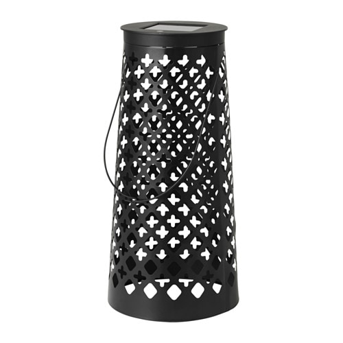 solvinden led solar powered floor lamp cone shaped black ikea. Black Bedroom Furniture Sets. Home Design Ideas