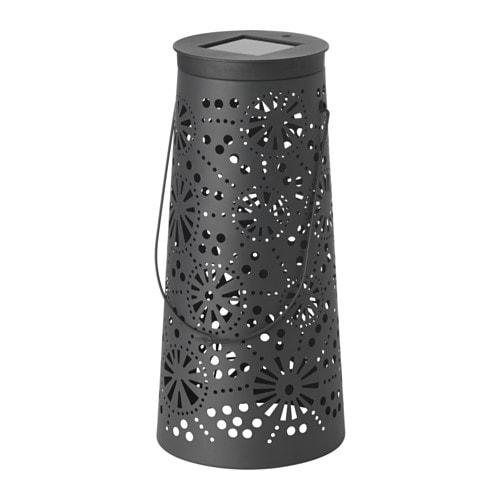 solvinden led solar powered floor lamp cone shaped grey 45 cm ikea. Black Bedroom Furniture Sets. Home Design Ideas