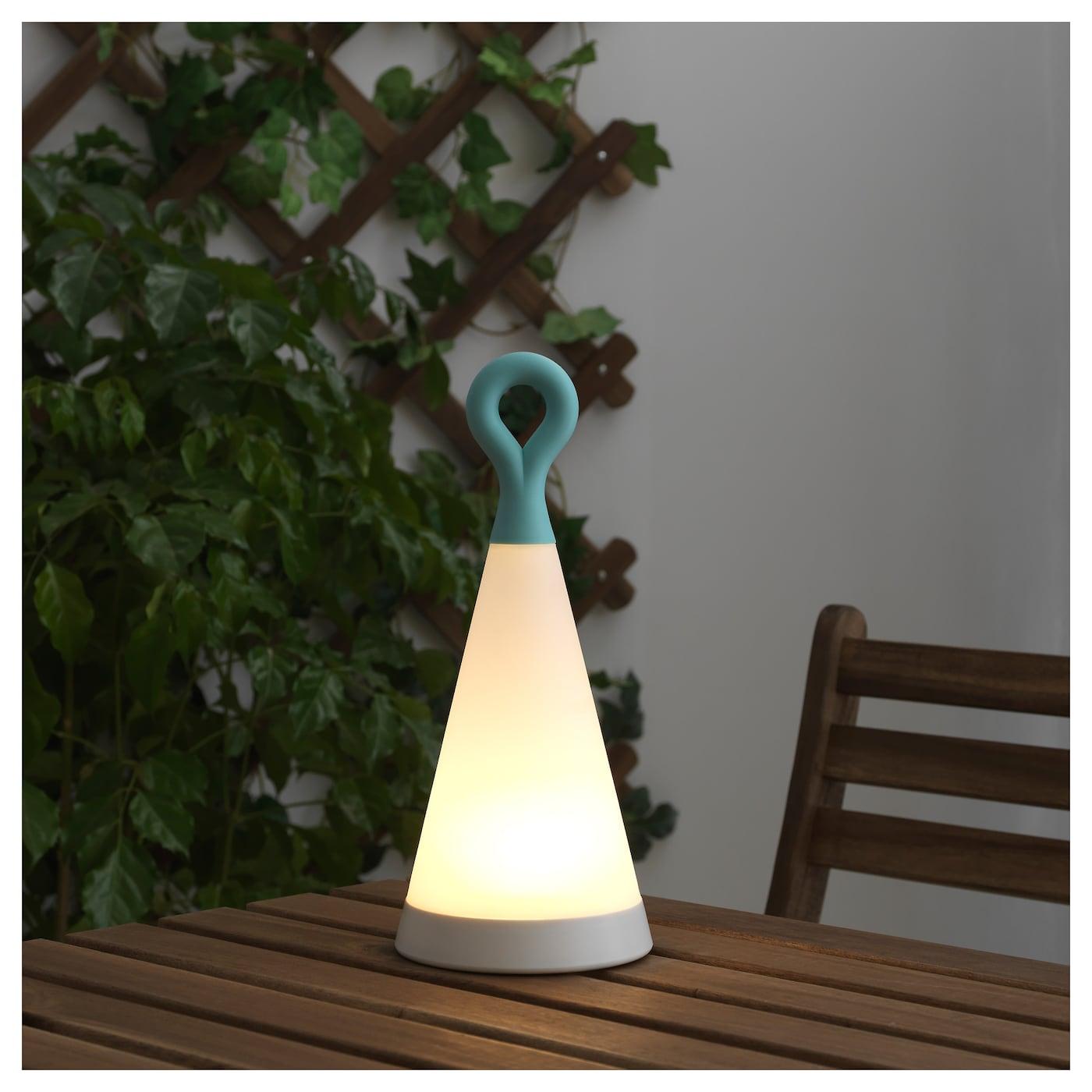 solvinden led solar powered table lamp triangle blue white. Black Bedroom Furniture Sets. Home Design Ideas